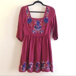 ModCloth Sunny Girl Embroidered Dress - M
